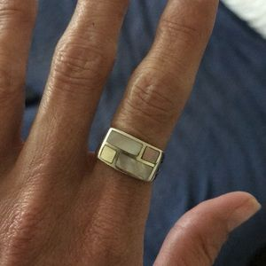 Sterling silver 1 of a kind Colorblock ring